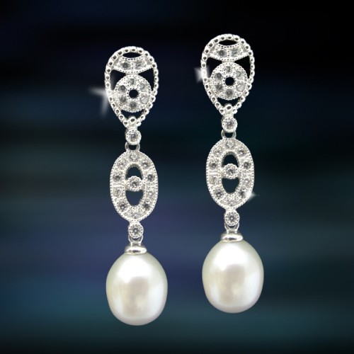 Pendientes de plata y perlas Amavento CAP012PR