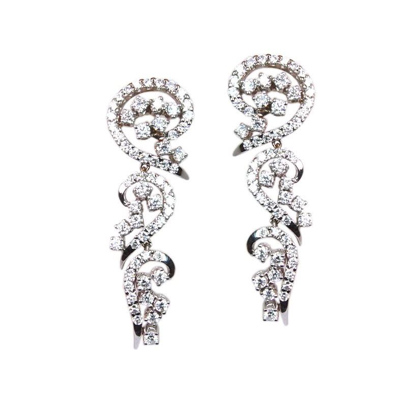 Pendientes de oro blanco y diamantes. LARRAP0719