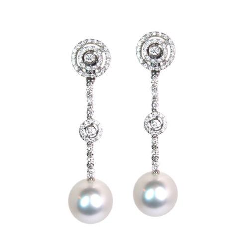 Pendientes de oro blanco, perlas y diamantes. LARRAP0757