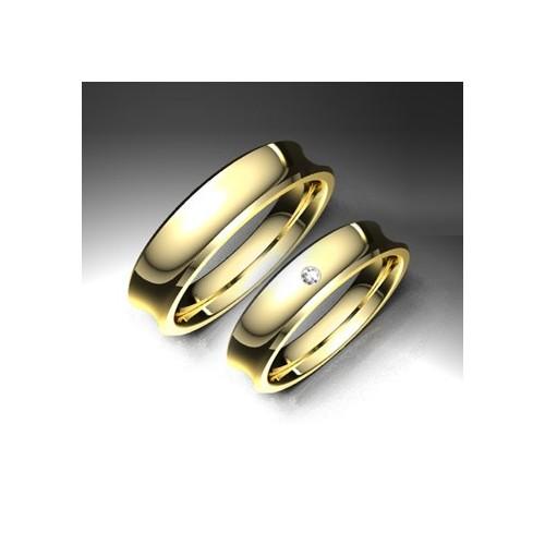 Alianza de oro amarillo LK - 750AMA45CONCAVA