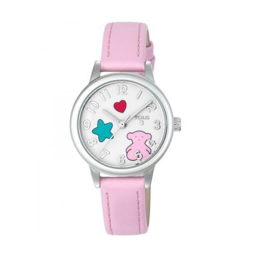 f52c0b547cdc Reloj TOUS Muffin de acero y piel rosa 800350630 Tous Watches