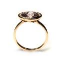 Anillo de oro rosa con diamantes y amatista B55700003