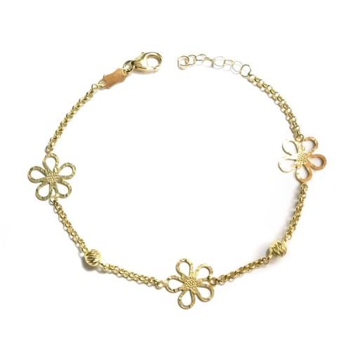 Pulsera de oro amarillo Flores C00100590