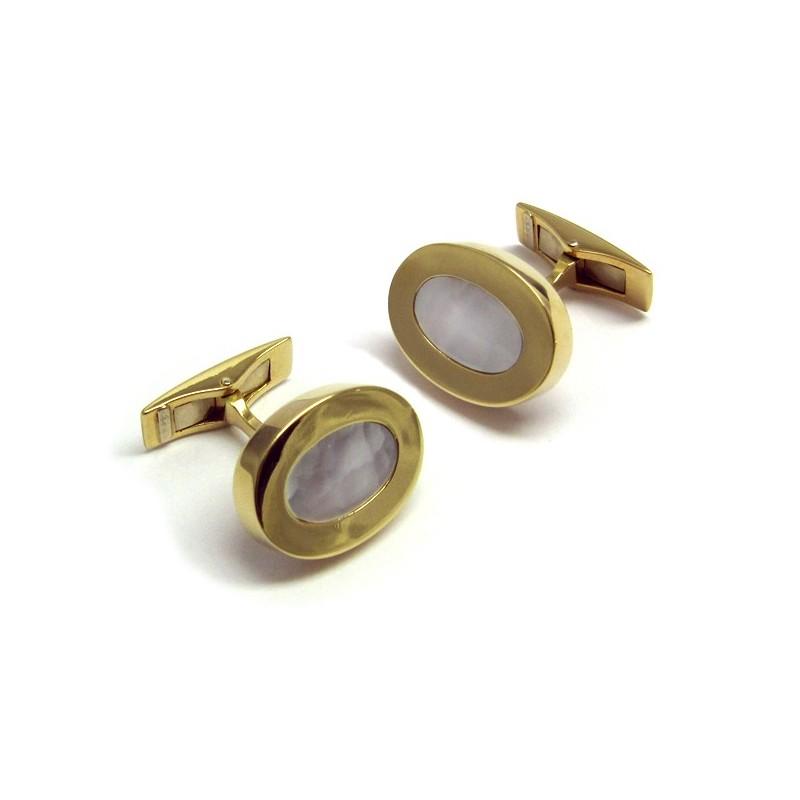 Gemelos ovalados de oro amarillo con nacar N00100036