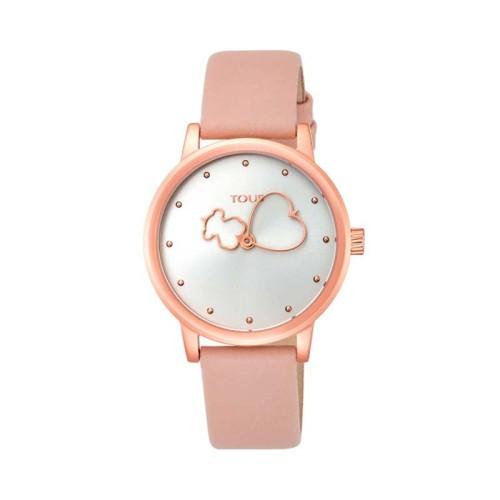Reloj TOUS Bear Time de acero IP rosado con correa de piel nude 800350925