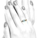 Anillo oro rosa con topacio y diamantes B07300048