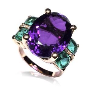 Anillo oro rosa con gemas y diamantes 4S-1648