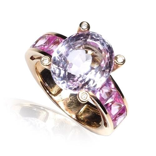 Anillo oro rosa con piedra rosa y diamantes B01500030