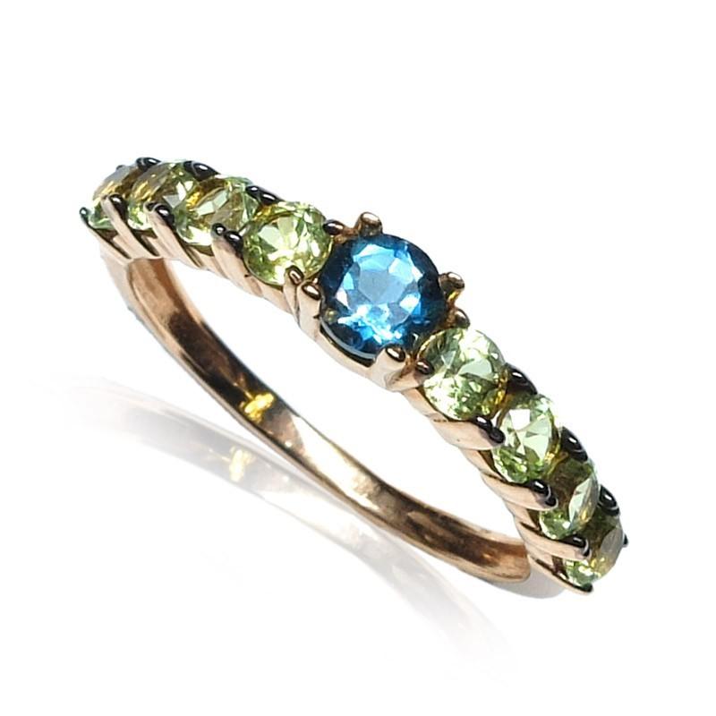 Anillo oro rosa gemas azul y verdes B57200003
