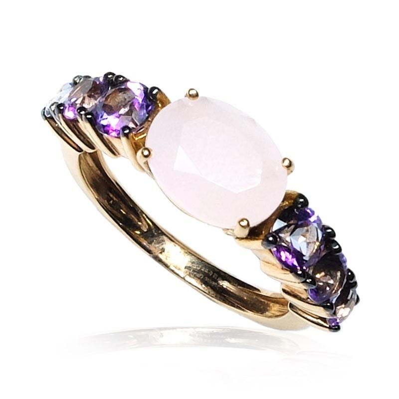 Anillo oro rosa gemas rosa y morado B07200123