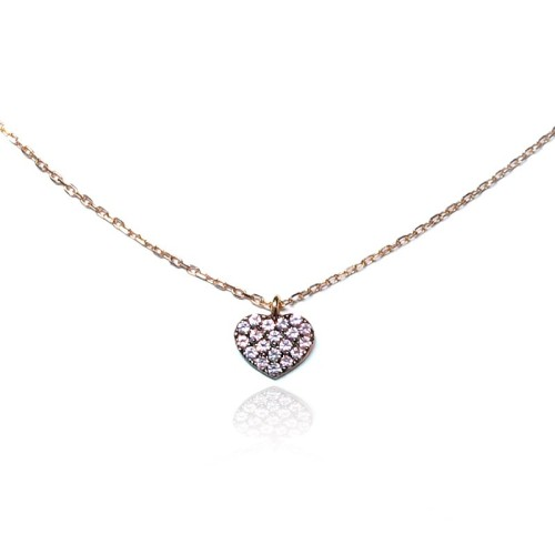 Collar oro rosa corazón rosa J05400005