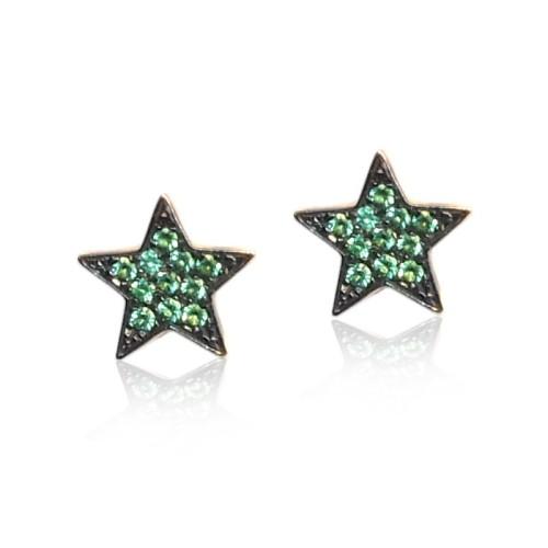Pendientes oro rosa y amarillo estrellas verdes G05400013