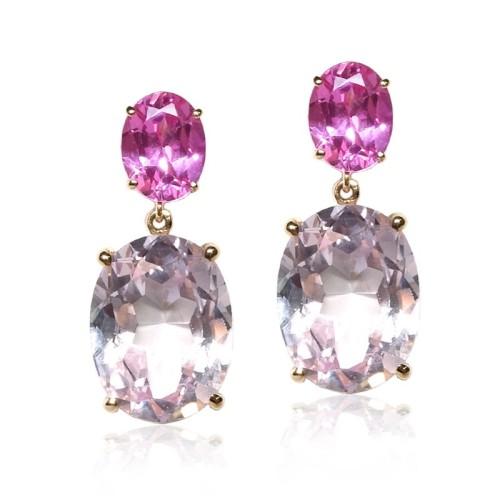 Pendientes oro rosa con gemas rosas 9152