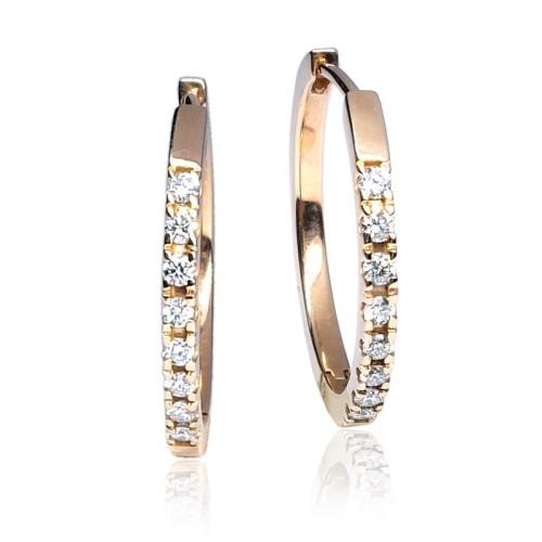 Pendientes Aro oro rosa diamantes G51100085