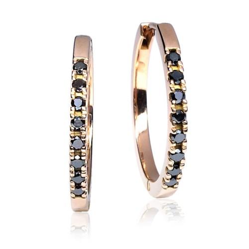Pendientes Aro oro rosa diamantes negros G51100081