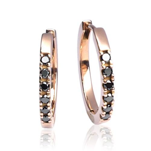 Pendientes Aro oro rosa diamantes negros G51100083