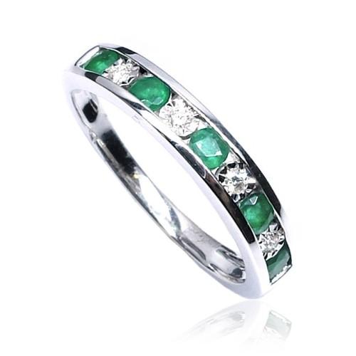Anillo oro blanco diamantes y esmeraldas B01400032
