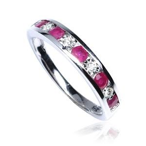 Anillo oro blanco diamantes y rubíes B01300039