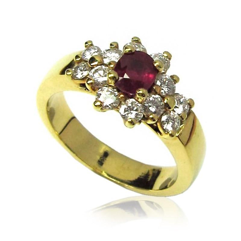 Anillo oro amarillo, diamantes y rubí B01300013