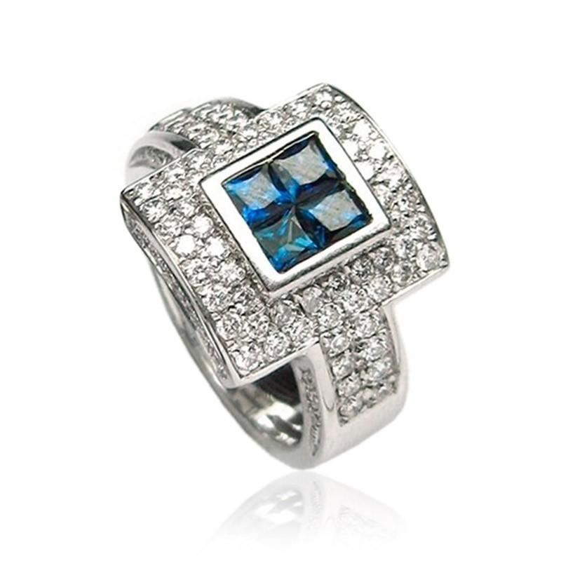 Anillo oro diamantes y zafiros B01200022