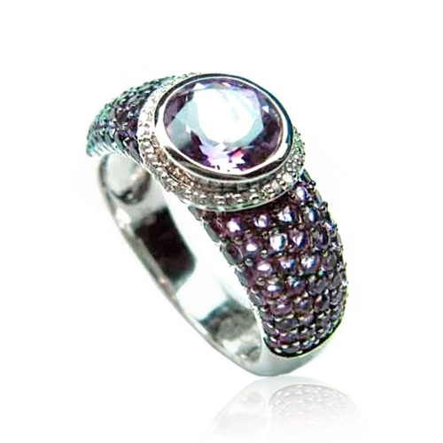 Anillo Oro Blanco Diamantes y Amatista B05700020
