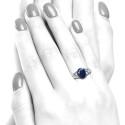 Anillo oro blanco diamantes y zafiro B01200047