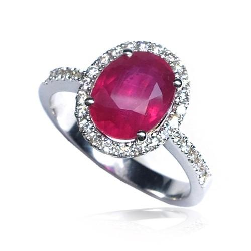 Anillo oro blanco diamantes y rubí B01300036