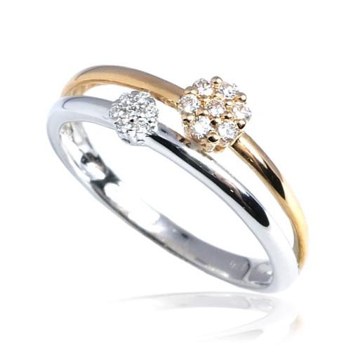 Anillo oro rosa y blanco y diamantes B01101841