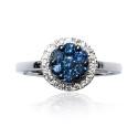 Anillo oro blanco diamantes y topacio B05500005