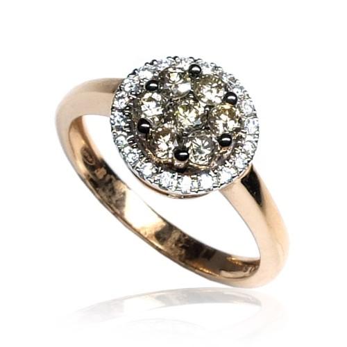 Anillo oro rosa diamantes B01101831