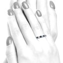 Anillo oro blanco diamantes y zafiros B01200080