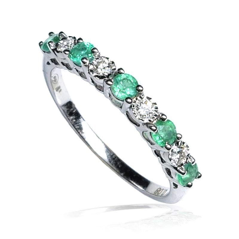 Anillo oro blanco diamantes y esmeraldas B01400031