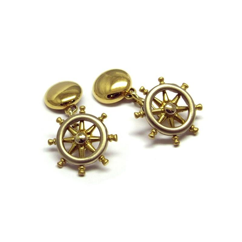 Gemelos de oro con forma de timón bicolor N00400002