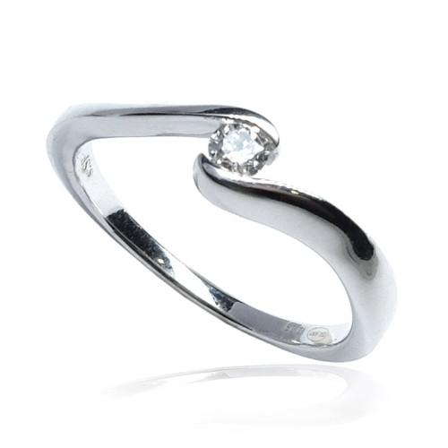Solitario oro blanco y diamante B01101871