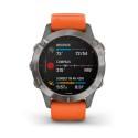 Reloj Garmin Fénix 6 Zafiro Titanio con Correa Naranja 010-02158-14