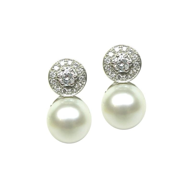 Pendientes oro blanco y diamantes G04200111
