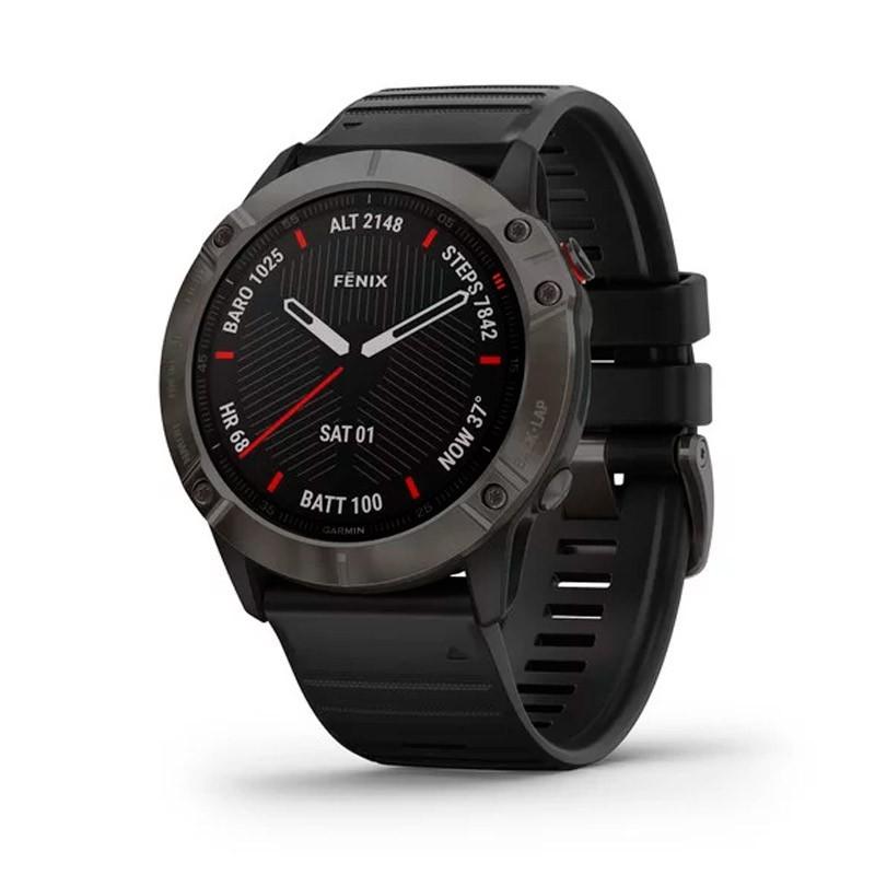 Reloj Garmin Fénix 6X Zafiro gris carbón con correa negra 010-02157-11