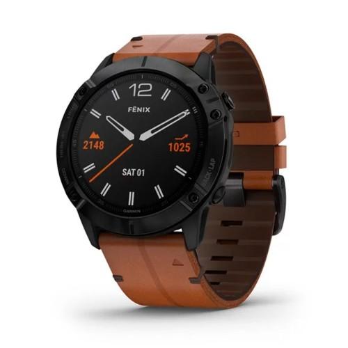 Reloj Garmin Fénix 6X Zafiro negro DLC con correa cuero 010-02157-14