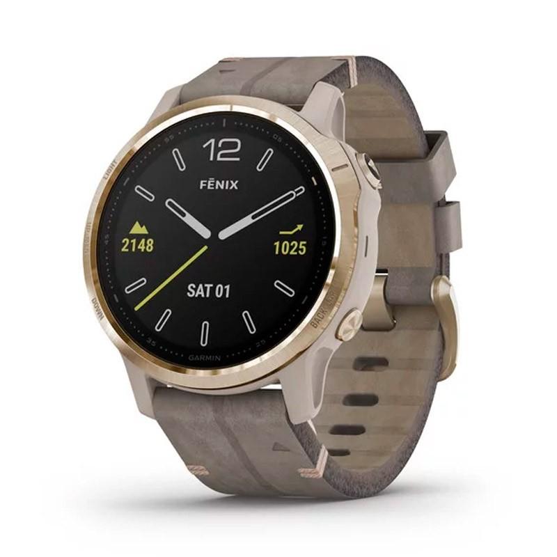 Reloj Garmin Fénix 6S Zafiro Plata con correa cuero gris piedra 010-02159-40