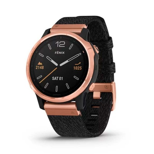 Reloj Garmin Fénix 6S Zafiro Gold Rose Negro correa Nylon 010-02159-37