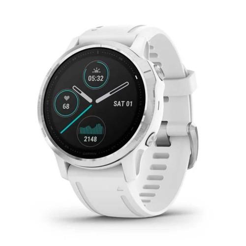 Reloj Garmin Fénix 6S Plata blanco con correa blanca 010-02159-00
