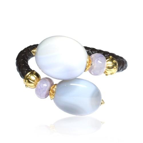 Pulsera cuero, plata dorada y piedras semipreciosas 2046100.00001 PC