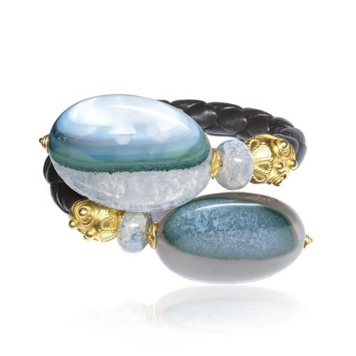 Pulsera cuero, plata dorada y piedras semipreciosas 2046100.00001 GV