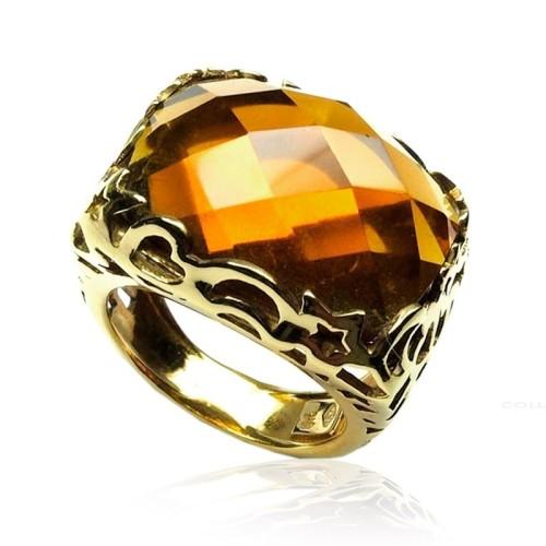 Anillo oro amarillo y citrino B06020009