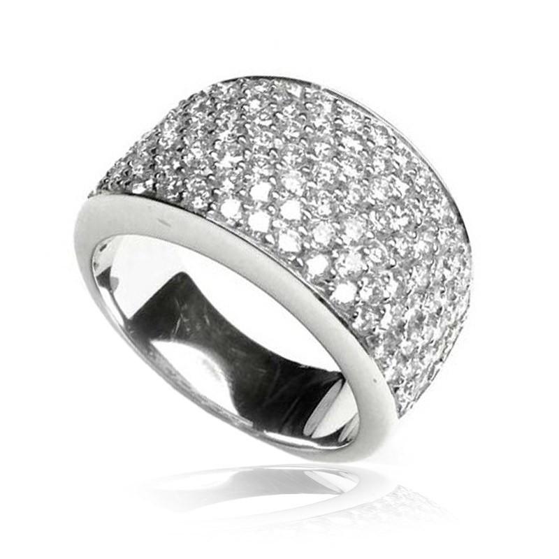 Anillo oro blanco y diamantes pavé B01100348