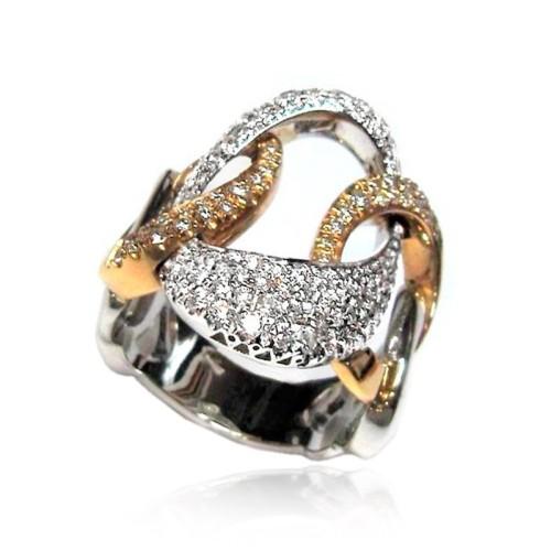 Anillo Oro rosa, blanco y diamantes B01120454
