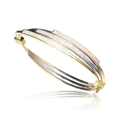Pulsera rígida oro amarillo, oro rosa y oro blanco C50500004