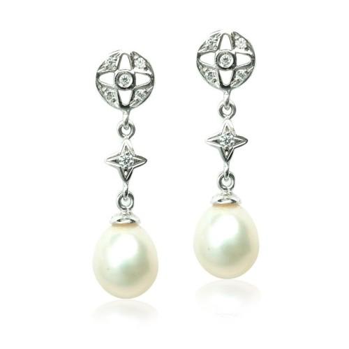 Pendientes oro blanco y perlas G02400066