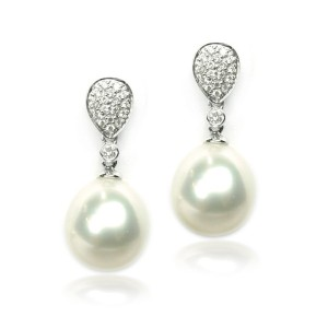 Pendientes oro blanco, diamantes y perlas australianas G04220041