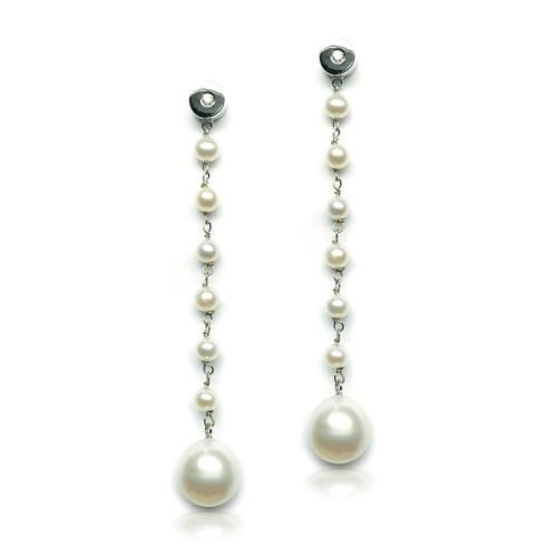 Pendientes oro blanco, diamante y perlas G64220001